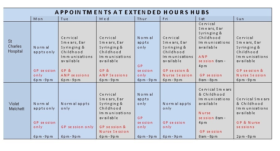 Extended Hours Timetable